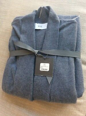 New With Tag Restoration Hardware Spa Cashmere Robe Large Blue $329.00