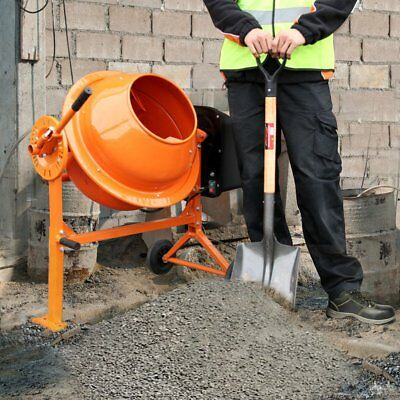 250W 70L Drum Large Portable Electric Concrete Cement Mixer Mortar Plaster UK