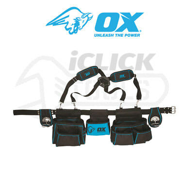 Ox P260801 Contractors Tool Belt Pouch Apron with Hammer Loop / Shoulder Strap