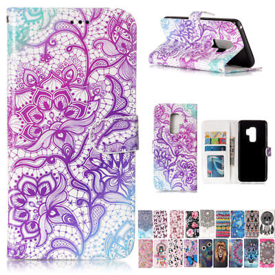 Painting Magnetic Flip Leather Wallet Stand Case Cover For Samsung Galaxy Phones