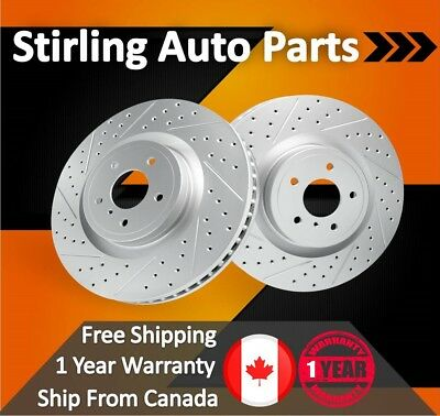 2003 For GMC Sierra 2500 Coated Drilled Slotted Rear Brake Rotors 325mm