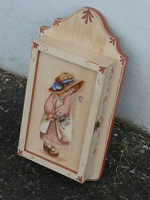 Small Painted Wood American Folk Art Wall Cabinet GIRL FLOWERS BUTTERFLY signed