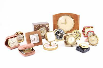 Job Lot 14x Asst Vintage Hand Wind Clocks inc Smiths, Europa, Jaz - Repairs