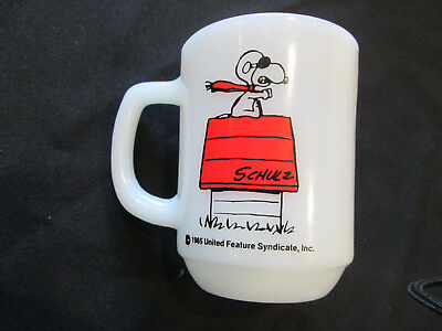 Red Baron Fire King Snoopy Coffee Mug 1965 Peanuts RARE Made in USA milk glass