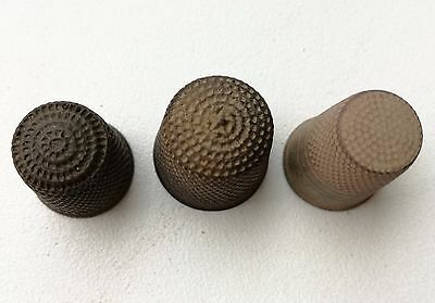 Very old antique thimbles. Lot of 3. One with star. Great condition!