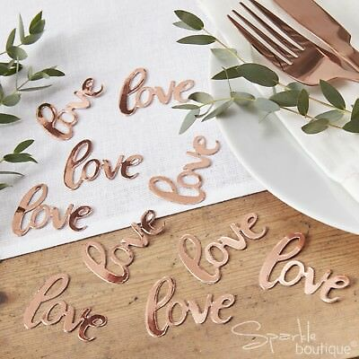 ROSE GOLD 'LOVE' TABLE CONFETTI - Foiled Sprinkles/Scatter - Wedding Decoration