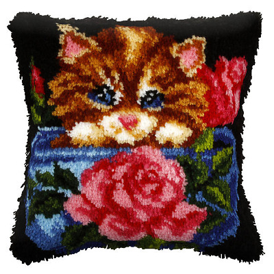 Orchidea Latch Hook Cushion Kit -  Large - Floral Cat - Needlecraft Kits