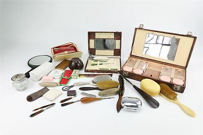JOB LOT COLLECTION OF VINTAGE VANITY ITEMS inc boxed brushes hand mirrors & more