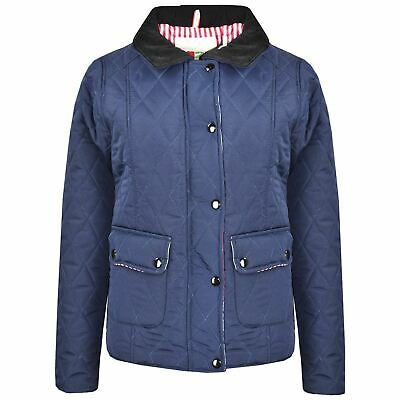 Kids Jackets Girls Navy Quilted Padded Collar Buttoned Zipped Jacket Thick Coat