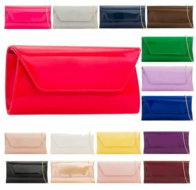 New Faux Patent Leather Ladies Bridal Prom Clutch Bag Purse Handbag