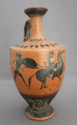 Ancient Greek Black Figure Lekythos - Attic Pottery Athens Hoplite Warrior