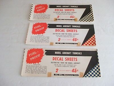 (3) Packs of Vintage Model Aircraft Trimcals Decal Sheets-Red,Black,Blue Checker