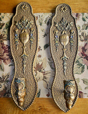 Set Of 2 Antique Victorian Wood Wall Sconces Candleholders