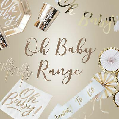 Baby Shower 'Oh Baby' Complete Range Decorations, Partyware, Plates, Napkins