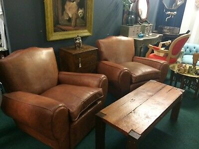 Pair of French Vintage Leather Club Chairs