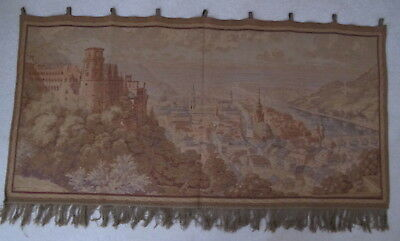 """Antique European Tapestry Castle Overlooking River Town Church Steeples 58""""x28"""""""