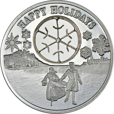 2017 Ice Skaters & Snowflake 1oz Proof Silver Niue Christmas Coin w/ box & COA