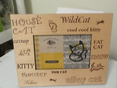 Cat Kitten Picture Frame 4 x 6 Wood Bath & Body Works At Home Meow Fat Cat Kitty