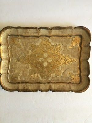 Vintage Old Florentine Italian Small Wood Serving Tray Gold Gilt Italy