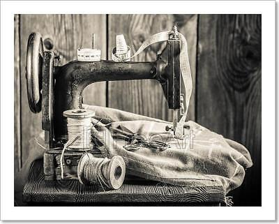 Vintage Sewing Machine With Needle, Art Print Home Decor Wall Art Poster - D