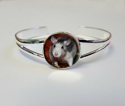 Rat On A Silver Plated Bracelet Bangle Costume Jewellery Ladies Gift L173