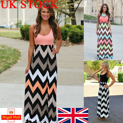 UK Womens Striped Boho Sleeveless Long Maxi Dress Plus Size Slim Gown Party Prom