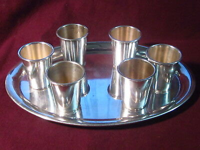 """Vintage .835 SILVER Tray with 6 shot glasses 7 7/8"""" x 5 3/4"""" cups 1 5/8"""" x 1 3/8"""