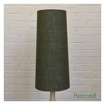 Handcrafted Vintage 60s 70s Style Green Hessian Conical Lampshade Fat Lava