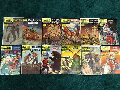 Lot of 12 Classics Illustrated -  Frankenstein-War of Worlds-King Solomons Mine