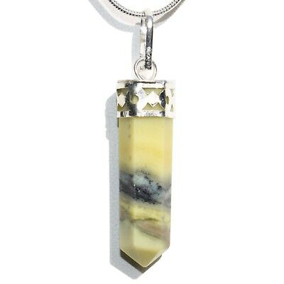 "CHARGED Faceted Himalayan Serpentine Crystal Point Perfect Pendant™ + 20"" Chain"