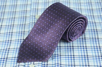 Faconnable Men's Tie Purple Geometric Woven Silk XL Necktie 62 x 3.5 in.