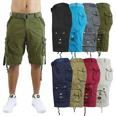 15f882e290 Mens Cargo Shorts Belted Flat Front Pockets Washed Lounge - 30 32 34 36 38  40