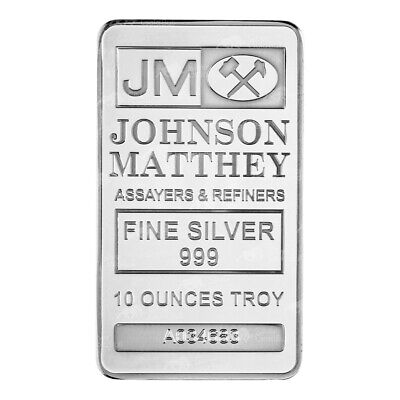10 oz Johnson Matthey Silver Bar