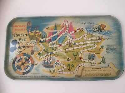 Vintage Mickey Mouse Treasure Hunt Litho Tin Game and Tray