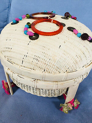 Sewing Basket Large Wicker Covered Coins, Beads & Bakelite Decorations