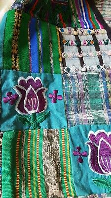 Guatemalan Vtg Ladies Boho Green/Blue Vest Multi-Color Embroidery Floral  Sz  L