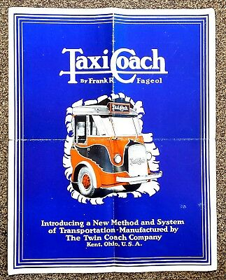 FAGEOL TaxiCoach poster size brochure, colorful illus., ca. 1930