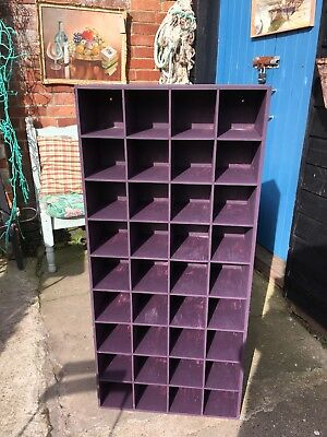 Vintage pigeon holes Shop retail display Birch ply Farrow & Ball Brinjal paint
