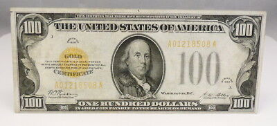 1928 US $100 Dollar Gold Certificate Note Bill Paper Money XF Condition FR 2405