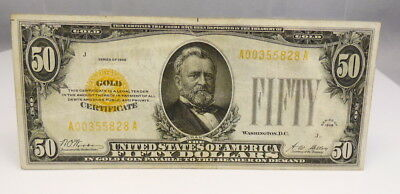 1928 US $50 Dollar Gold Certificate Note Bill Paper Money XF Condition FR 2404