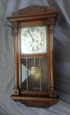 """Vintage Oak Cased 8 Day Wall Clock Wood Carved 32"""" Tall Chime"""