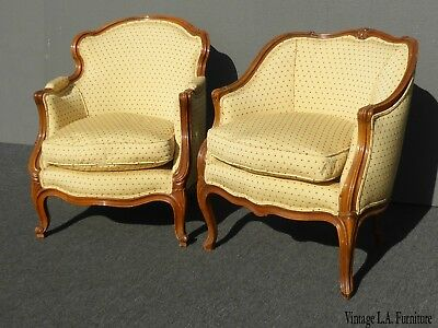Pair Vintage French Provincial Gold w Red Dots His & Her's Accent Chairs w Down