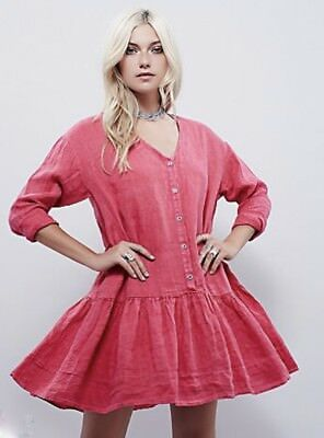 cee48f644c394 NEW Free People bright pink red Loose Fit Button Front Ruffle Drop Waist  Dress M