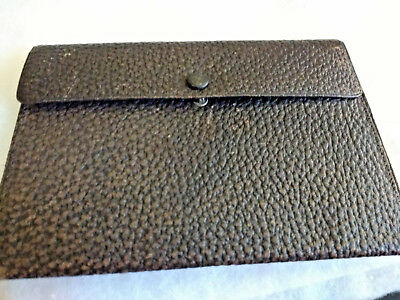 Antique Vintage Man's Black Leather Single Fold Wallet/Silk Lined/w Lady's Photo