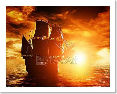 Ancient Pirate Ship Sailing On The Art Print Home Decor Wall Art Poster - C