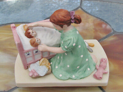 Vintage Figurine Little Mother Girl with dolls by Norman Rockwell 1983