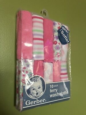 4d96ed202 NEW! GERBER BABY Girl Terry Printed Washcloths, 10-pack Pink ...