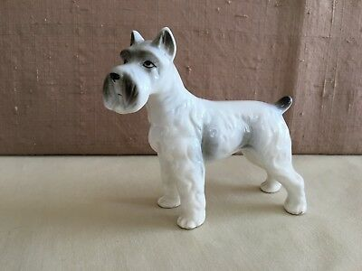 Vintage Schnauzer Terrier Dog Ceramic Figurine