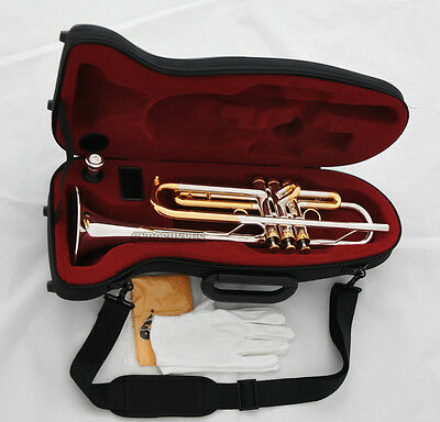 Professional Silver Gold Bb Trumpet Horn Monel Valves With Hard Case Free ship