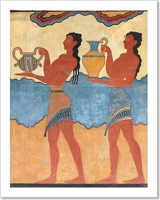 Minoan Figures Mural Painting Fresco Art Print Home Decor Wall Art Poster - C